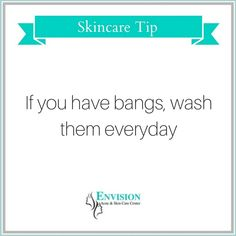 If you've got bangs, you may experience breakouts more frequently on your forehead than any other part of your face because of the excess oil from your hair. Be sure to wash your bangs everyday or pin your bangs up!     #skincare #envision #acnespecialist #acnetreatmentnj #dermatologistnj #acnetreatment #acne #clearskin #acnesucks #loveyourskin #beautifulskin #pimples #zits #acnefree     envisionacnecenter.com