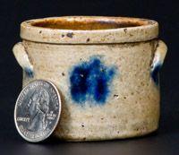 Unusual Miniature Stoneware Crock with Cobalt Decoration