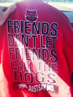 I just thought this was cute.  Love it! Can't say I've never called the hogs but I love my Red Wolves more!!!