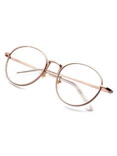 1abb4a918 Rose Gold Delicate Frame Clear Lens Glasses | SHEIN Óculos De Armação  Redonda, Óculos De