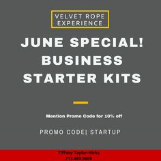 EXCITED SUMMER IS HERE!  We are running a summer special and offering a business starter kit for $150.  You can customize your package. We offer vision statements,  mission statements, core values, strategy and planning sessions, and more... Let us help you bring your idea to life!  Contact: Tiffany@VelvetRopeExperience.com or 713.489.9608 VelvetRopeExperience.com  #startup #newsmallbusiness #newsmallbusinessowner #startyouownbusiness #thinkingaboutstartingabusiness #SmallBusiness…