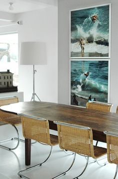 Obsessed w these chairs  this vibe. Surf's up in your dining room. I dig it.