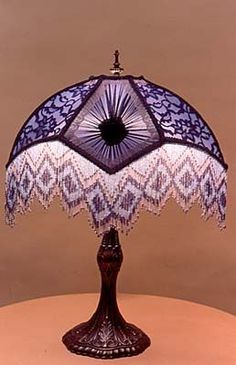 """The Sherlock"" A Beautiful Purple Lamp Shade with Lace. Victorian Lamps, Antique Lamps, Vintage Lamps, Chandelier Lamp, Chandeliers, Purple Lamp, Tiffany Lamps, Art Nouveau, Brass Lamp"