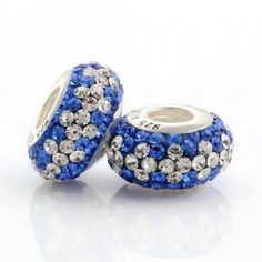Silver White Blue Match Crystal Bead