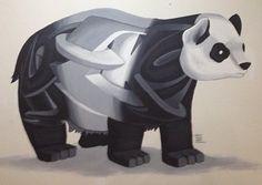 Panda fusión de ilustración y graffiti 3D #rekorises