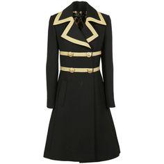 Military Coat (€2.485) ❤ liked on Polyvore featuring outerwear, coats, military coat, lapels wool coat, leopard print coat, wool coat and woolen coat