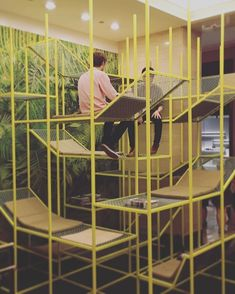 """Serious playground vibes from buzzispace's BuzziJungle! They describe it as a """"new concept for the social office that pushes the traditional boundaries of a workspace"""". Pushing boundaries, indeed. Interior Work, Office Interior Design, Office Interiors, Co Working, Working Area, Temporary Housing, Industrial Office Design, Modern Stairs, Workspace Inspiration"""