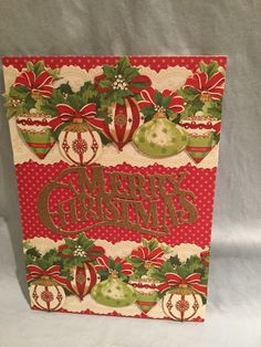 Anna Griffin holiday card kit with 3D holiday borders and festive words die cut.  MC #33