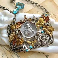 Finally finished. #jesuschrist #assemblage #assemblagejewelry #sacredcake #leaves #aqua #antique #buckle #vintage Aqua, It Is Finished, Leaves, Antiques, Cake, Bracelets, Vintage, Instagram, Jewelry