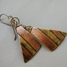 Mixed Metal Striped Earrings by Pobbletoes on Etsy, $28.00