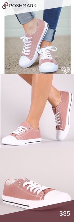 SERA lace up sneakers - MAUVE Mauve color canvas sneakers to add to your closet! Super comfy and runs true to size. Shoes Sneakers