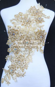 Cheap accessories tool, Buy Quality garment collar directly from China garment seal Suppliers: 1pc x 3D Long Gold/Cream Sequin Beaded Stoned Flower Lace Applique Trims Collar Patch Dress Costume Garments Accessorie