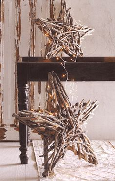 Driftwood star. Love this for a holiday mantel.