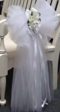 Tulle bows for the aisle chairs visit the website for instructions how to make a tulle pew bow wedding junglespirit Choice Image