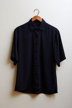 1990s Tilley Silk Black Microfibre Shirt  S by SoftServeVintage