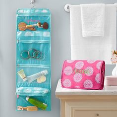 Give her toiletries a place to hang out! Our bag not only neatly organizes travel necessities, it keeps them accessible as well. Four inside zipper pockets plus hanging hook to save space and keep everything visible.