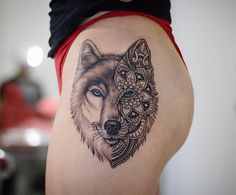 Photo by (madgab729) on Instagram | #tattoo #ink #wolf #wolftattoo #mosaic #mosaictattoo #mosaicwolftattoo