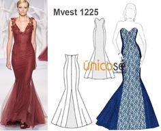 Este vestido es simplemente ESPECTACULAR!. Encuentra el molde en www.unicose.net / Código 100101225