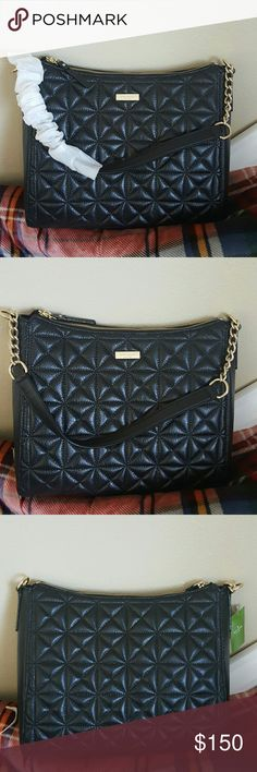 """Kate Spade Black Aurelia Purse Whitaker Place Cute purse brand new! Features & details 10.5""""h x 12.1""""w x 3.5""""d total strap length: 21.7"""" quilted pebbled leather with a shimmer finish and a pebbled leather trim Kate Spade Bags Shoulder Bags"""