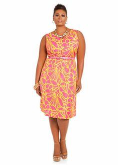 V-Neck Floral Linen Dress from Ashley Stewart. AS-000682_513531A_frangipani_front.jpg