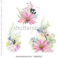 Collection vector decorative design of flowers, plants, Red-flanked Bluetail bird, branches and leaves in vintage style with butterflies. - stock vector