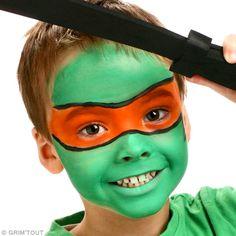 Ninja Turtle Make-up: Michelangelo Make-up Ratschläge und Tutorial Ideen Make-up Ninja Party, Ninja Turtle Party, Ninja Turtles, Michelangelo, Up Halloween, Halloween Makeup, Ninja Turtle Face Paint, Maquillage Grim Tout, Kids Makeup