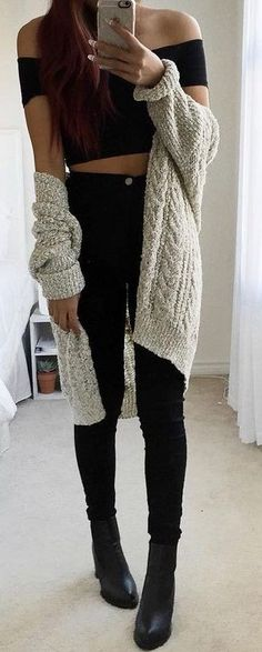 #fall #trending #outfits |  Grey Cardi + Black