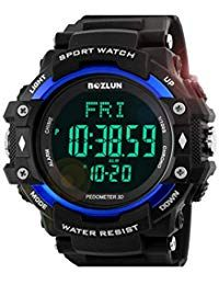 f56fcc60674d ST02 Hombres Deporte al Aire Libre Smartwatch Monitor de Ritmo cardíaco  Reloj Inteligente Dial Redondo Correa de Goma Relojes Digitales Pasómetro -  Azul ...