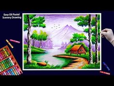 Beautiful Scenery Drawing with Oil Pastels-Step by Step Beautiful Scenery Drawing, Scenery Drawing For Kids, Art Drawings For Kids, Art Drawings Sketches Simple, Beautiful Paintings, Oil Pastel Drawings Easy, Oil Pastel Paintings, Oil Pastel Art, Oil Pastel Colours