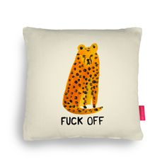 F*ck Off Cheetah Cushion — Ohh Deer Animal Cushions, Ohh Deer, Yellow Cushions, All The Small Things, Wall Bookshelves, Gift Finder, Casual Tops For Women, Gift Store
