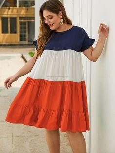 Smocked Dresses, Plus Size Beach Dresses, Plus Size Outfits, Red Summer Dresses, Party Dresses For Women, Female Shorts, Oversized Dress, Plus Size Shorts, Colorblock Dress