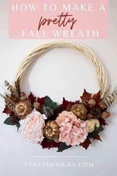 How to make a pretty fall wreath- step by step tutorial |  Fall Wreath by popular Canada DIY blog, Fynes Designs: Pinterest image of a fall wreath. Easy Fall Wreaths, Wreath Fall, Fall Crafts, Arts And Crafts, Fall Wreath Tutorial, Grapevine Wreath, Halloween Decorations, Fall Decor, Floral Wreath