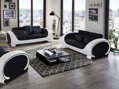 Designer Couch ? Modernes Sofa Fürs Wohnzimmer Aus Leder In Weiß ... Designer Wohnzimmer Schwarz