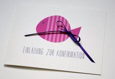 Einladung zur Konfirmation/Kommunion - FISCHLEIN von creartiv.box auf DaWanda.com