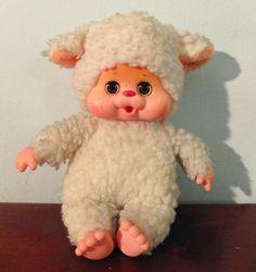 "Vintage sheep lamb Toho Daisuke Monchhichi まごころの人形 plush doll 8"" Japan Sekiguchi #Sekiguchi"