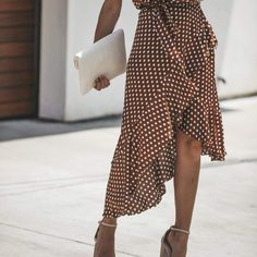 Brown Cotton Polka Dot Print Sleeveless Chic Women Hi-Lo Midi Dress Latest Fashion For Women, Love Fashion, Womens Fashion, Classy Fashion, Elegant Outfit, Ladies Dress Design, Polyvore Outfits, Lady, Trendy Outfits