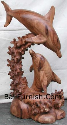 Balinese Wooden Fish Dolphin Whales Sea Statues Crafts Bali Dolphin Wood Carving