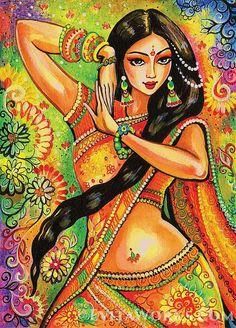 Este artículo está basado en una pintura original, llamado Nithya bailando. Magia de la serie de la danza. (Nithya es un nombre femenino en Hindi, significa siempre, eterna.) Usted está considerando un objeto de coleccionista-calidad mano-hecha-a-orden. Consiste en una edición firmada (SE) Art Print (giclée) de una obra de arte original por Eva Campbell (amplia galería en EvitaWorks.com).  Para saber más sobre cómo se hace este producto: https://www.etsy.com/listing/253599...