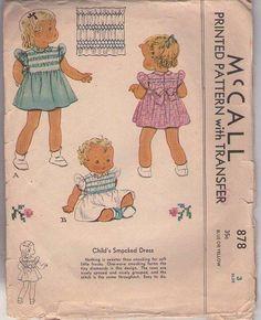 MOMSPatterns Vintage Sewing Patterns - McCall's 878 Vintage 40's Sewing Pattern DAINTY Toddler Girls Shirley Temple Style Puff Sleeve, Tie Back Smocked Dress, Smocking Transfer Size 3
