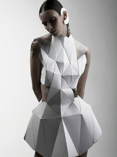 Geometric Fashion - white dress with faceted 3D structure using connecting triangle shapes - experimental fashion design; wearable art // Biophelia