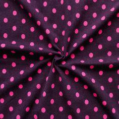 Baumwoll Stretch Jersey  Punkte Mittel  Farbe Dunkel-Aubergine Pink