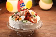 Swedish meal with shrimp and cream cheese.