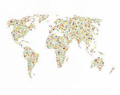 Floral World Map Print