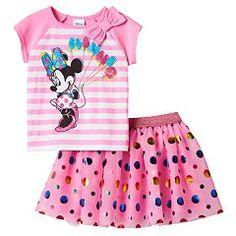 Disney's Minnie Mouse Toddler Girl Raglan Striped Tee & Skirt Set
