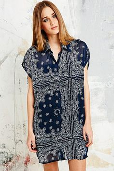 Vintage O&O Ethnic Print Shirt Dress in Navy - Urban Outfitters