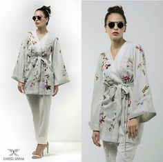 This Embroidered Kimono wrap in cotton is a day to night look with right accessories!!! #Beautiful #Elegant #Style #Kimono #ZaheerAbbasOfficial #PakistaniFashion #PakistaniActresses #PakistaniCelebrities  ✨