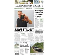 The front page of the Taunton Daily Gazette for Monday, Aug. 10, 2015.