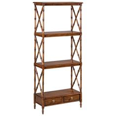 british colonial style etagere- a piece of furniture with open shelves for displaying small ornaments