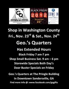 Make sure to Come Shop at Geo.'s Quarters located in The Pringle Building to find some really good Deals on Black Friday & Small Business Saturday. Check out Warthen Lane while at The Pringle Building.