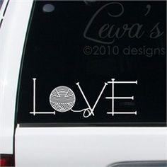 Knit Love Car Decal Sticker  - Cute!!